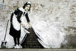 lona Banksy pintura enorme Graffiti Street Art Maid limpas Home Decor pintado à mão HD Pinturas Imprimir óleo sobre tela Wall Art 200218