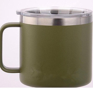 Hot 14oz stainless steel tumbler coffee mug double wall vacuum milk cup insulated handle cup with lid water bottle
