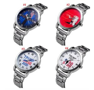 Trump 2020 Watch 4 Styles Quartz Silvery Stainless Steel Watchband Donald Trump Men Wrist Watches Clock Trump Party Favor LJJO7977