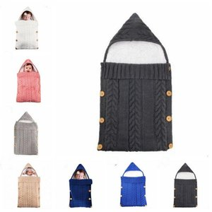 Baby Sleeping Knitted Crochet Blanket Wrap Bag Button Toddler Gifts Sleep Stroller Kids Winter Warm Thick Blanket Girls Boys Sack EZYQ1 Wlwa