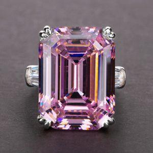 2020 Sterling Silver Criado Emerald corte Cocktail do acoplamento do casamento diamante Mulheres Moissanite Anéis Fine Jewelry