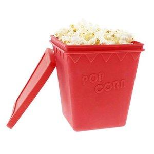 Food Grade Popcorn Maker Silicone Popcorn Popper Bowls with Lid Oval and Square Shape DIY Popcorn Bucket Sake Kitchen Bakware