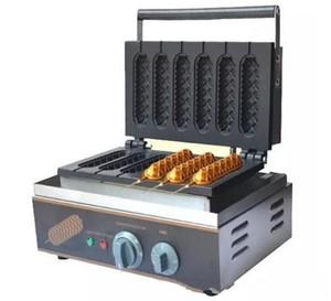 Sıcak Satış Ticari 6 Izgaralar Gevrek Hot Dog Waffle makinesi Makinesi Elektrikli Çörek Yapma Makinesi Waffle Makinesi