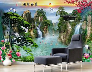 Modern simples 3d papel de parede paredes estéreo paisagem papel de parede para sala de estar cachoeira sofá tv backdrop parede coberta