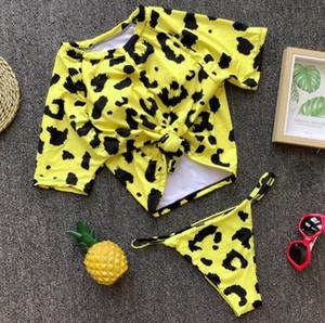 Selling Crazy Sexy Retro Front Tie Knot T-shirt Crop Top Bikini Bathing Suit Female Swimsuit Micro Thong Swimwear Women Bikini set