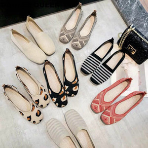 Hot Sale-New Women Flat Shoes Ballet Flats Fashion Slip On Cut Outs Ladies Shoe Stretch Fabric Ballerina Leopard Loafer