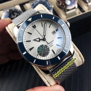 Lüks Süper Okyanus Miras II 42 A1732124 | BA61 | 154A Beyaz Mavi Seramik Bezel Japonya Miyota Mekanik Erkek İzle Çelik Bant Saatler Dial
