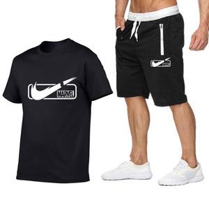tuta maglietta del Mens di marca + bicchierini di estate a maniche corte tuta Palestre Casual Male maglietta 2 pezzi Marca Abbigliamento taglie S-2XL