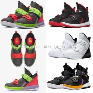 Lebron Soldado 13 XIII Shoes basquete masculino para as mulheres Crianças Meninos Meninas Preto Vermelho Branco azul de gelo Soldados 13s Sports Sneakers Tamanho US4-12