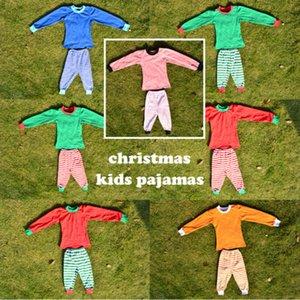 뜨거운 판매 부티크 아기 부티크 의류 작은 십대 아이 아이 소년 소녀 크리스마스 잠옷 녹색 PJS 아기 줄무늬 잠옷 빨간색