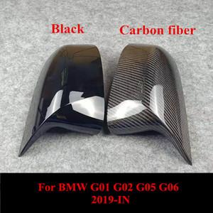 Par de carbono traseiros tampas espelho retrovisor lateral para Bmw X3X4 X5X6 G01 G02 G05 G06 ABS M cover espelho olhar 2019-IN
