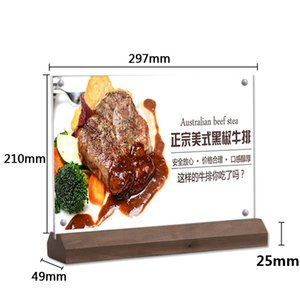 A4 Acrylique Cadre Photo T Stand De La Table De La Publicité Affiche Rack Bureau Affiche Stand Art Affichage Photo Noir Base En Bois De Noyer