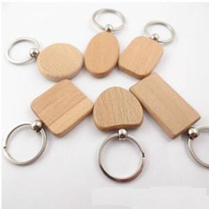 DHL em branco Retângulo chaveiro de madeira DIY Promoção personalizado Madeira chaveiros Presentes Key Tag promocionais