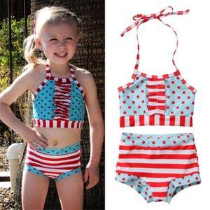 Прекрасный ребенок новорожденных девочек 2шт бикини горошек печати купальники Холтер бандаж купальник Высокая Талия купальный костюм спинки пляжная одежда