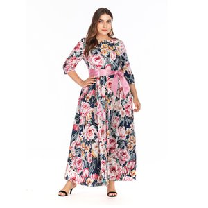 Fat Woman plus size women's long sleeve printed bohemian dress long skirt evening dress