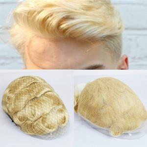 Peruca peruca para homens loira completa Lace Homens Toupee suíço Lace Homens Peruca 8x10 Inch Femininos Lace Francês Sistema Durable