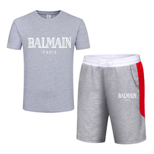 G2بالمن رجل مصمم رياضية مطبوعة الرجال كشك الياقة O-عنق قصير الأكمام البلوز مع عارضة عداء ببطء سروال بذلات Sportsuit