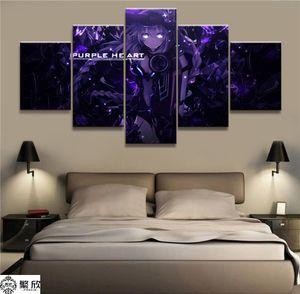 Hyperdimension Neptunia игры, 5 Pieces HD Холст печати Home Decor Art Живопись (Unframed / Framed)