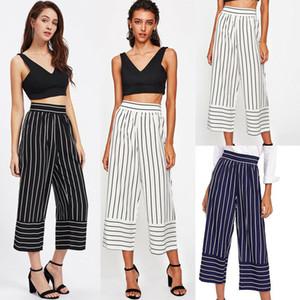 Yeni Kadın Modası Yüksek Bel Geniş Bacak Pantolon Çizgili Bell-bottom Pantolon Pamuk Moda Yaz Ayak bileği-Uzunluk Pantolon
