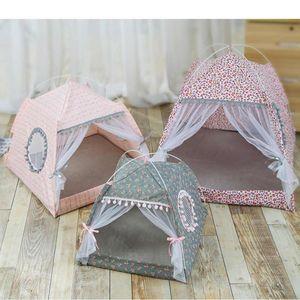 L'été des maisons d'animal familier pliable Tente de chat pour chien de compagnie chenil lit d'hiver maison portative avec filet extérieur maison maille tente tente M / L / XL