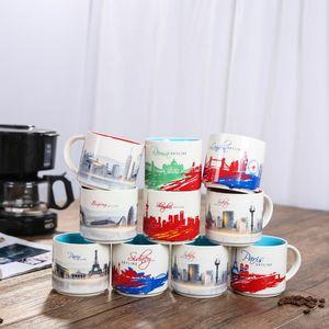 Originality City Series Water Cup Ceramics Circular Coffee Mugs Fit Home Office Fashion Drinks Tumbler 420ml 5xha E1