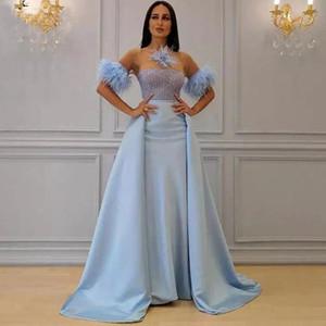 Blau Overskirt Abendkleider Federn Short Sleeve Illusion Ausschnitt Ballkleider mit abnehmbarem Zug robe de Soiree