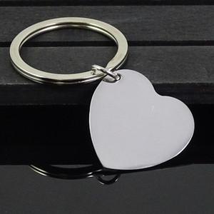30pcs / porción de la alta pulido Llavero blanco del acero inoxidable del corazón Engravable sólida placa de identificación del llavero cadena dominante del coche joyería del anillo de precio de fábrica