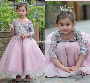 Adorável rosa meninas pageant vestidos 3/4 manga longa no tornozelo comprimento apliques jóias flor menina vestido criança vestidos de festa de aniversário cosplay desgaste