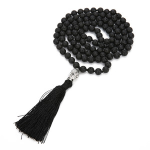Boho Lava Rock Long tassel Necklace Diffuser Essential Oil Black Natural stone Buddha beads sweater Chain For women Fashion Jewelry in Bulk