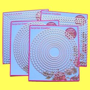 4-Set grande troqueles de corte festoneado Rectángulo Cuadrado Círculo Oval álbum de recortes de papel del arte DIY de la plantilla CJ191209