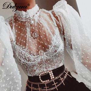 Dulzura maglia a pois lanterna lungo dolcevita manica eleganti delle donne trasparenti della maglietta Bassiera 2020 abiti estivi a picco carino
