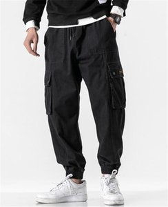 Mens Cargo Pants Casual Males Clothing Big Pocket Panelled Mens Designer Cargo Pants Fashion Loose Solid Color Drawstring