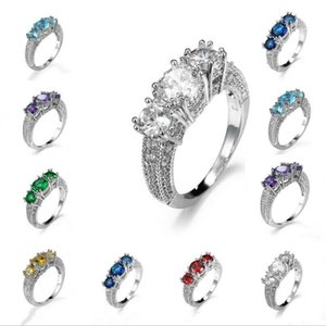 Fashion Women Diamon Amethyst White Emerald Sapphire Garnet Silver Finger Ring
