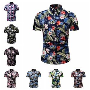 camisas casuales nueva personalidad de la moda desgaste de los hombres del hombre de diseño de lujo cultivarse tiempo de ocio de moda camisa de manga corta flor