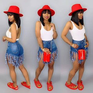 Verão Mulheres Curtas Borla Jeans De Cintura Alta Jeans Designer de Moda Do Vintage Shorts Jeans Calças Skinny Feminina