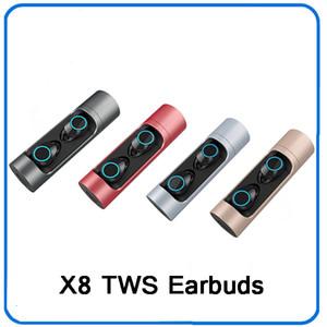X8 TWS Mini Bluetooth 5.0 auricolare senza fili bassi profondi auricolari IPX5 cuffia impermeabile con la Banca di potere di ricarica di sicurezza per IOS Android