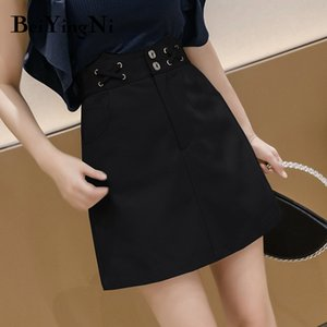 Beiyingni Women Denim Skirt 2020 High Waist Lining A Line Jeans Skirts Female Chic Fashion Vintage Korean Streetwear Jupe Femme