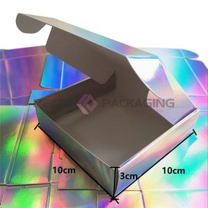 Us 225 Lot Micro Dots Holographic Gift Box Silver Laser Packaging Party Favor Box 10X10X3Cm Free Shippinggift Bags Wrapping hairclippersshop