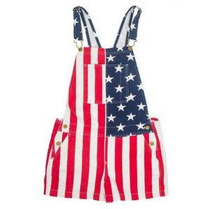 День независимости Rompers Женщины Повседневная Комбинезон Патриотическое Printed Американский флаг Полосатые Комбинезоны летние женские унисекс Bib джинсы