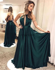 Hunter Green Billig A Line Prom Dresses Halter Hals Backless Bodenlangen High Side Split Formale Kleid Abendkleider Ogstuff Abendkleider