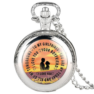 Brown Quartz Pocket Watch To My Girlfriend Series Pendant Watch with Link Chain for Love Ones as Gifts