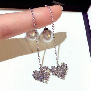 kadın kızlar için yeni sıcak ins moda lüks tasarımcı süper parlak elmas sevimli kalp inci kolye uzun dangle küpe