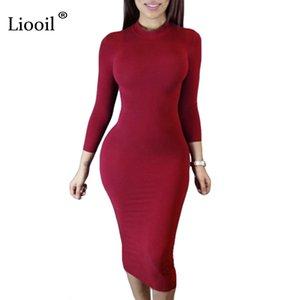 Liooil 2020 Spring Dress Turtleneck Long Sleek Black Wine Red Midi Bodycon Dresses Winter Plus Size Clothes For Women Y200418