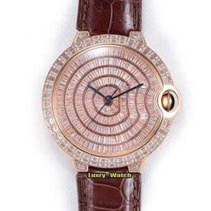 ERF Top version WSBB0016 Gypsophila Diamonds Dial Japan Miyota 9015 Automatic Mens Watch Square Diamond Case Leather Strap Luxury Watches