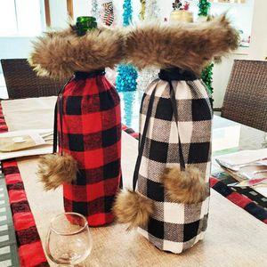 Botella de vino de Navidad decoración de la tabla de la felpa de la tela escocesa de la falda del hogar Utensilios de vino de la botella del sostenedor de regalos de Navidad cubierta de la bolsa LJJA3324-252