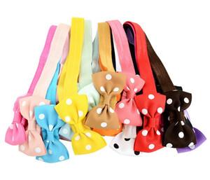 2.75 Inch Mix colors Baby glirs elastic Headbands Polka Dot Grosgrain Dovetail Ribbon Bowknot Children Hair Accessories A155