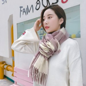 Women Imitation Cashmere Scarves Autumn Winter Female Plaid Scarf Lady Wide Lattices Long Shawl Wrap Blanket Warm Tippet 180*70cm