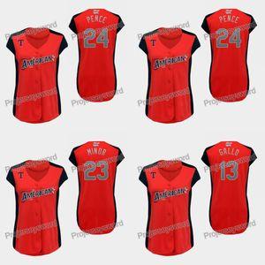 Joey Gallo 13 des femmes de la Ligue américaine Jersey 24 Pence Hunter 23 Mike Minor 100% Cousu Allstar Baseball Jersey rouge