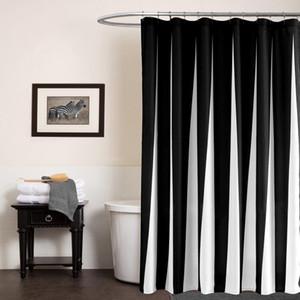 SUNNYRAIN preto e branco Modern Shower Curtain Resistente à água poliéster Bath Cortina azul Cortina