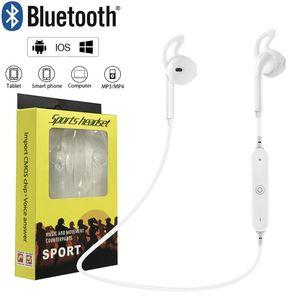 500PCS / Lot Bluetooth S6 Беспроводные наушники бас стерео Спорт с микрофоном для iPhone Samsung Huawei с розничной коробкой Свободная DHL